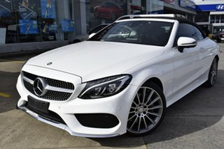 2017 Mercedes-Benz C-Class A205 807+057MY C300 9G-Tronic White 9 Speed Sports Automatic Cabriolet.