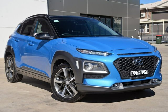 Used Hyundai Kona OS.2 MY19 Highlander 2WD, 2018 Hyundai Kona OS.2 MY19 Highlander 2WD Blue 6 Speed Sports Automatic Wagon