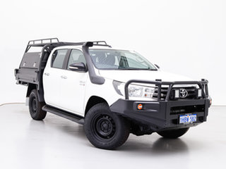2016 Toyota Hilux GUN126R SR (4x4) White 6 Speed Manual Dual Cab Chassis.