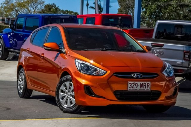 Used Hyundai Accent RB3 MY16 Active, 2016 Hyundai Accent RB3 MY16 Active Orange 6 Speed Manual Hatchback