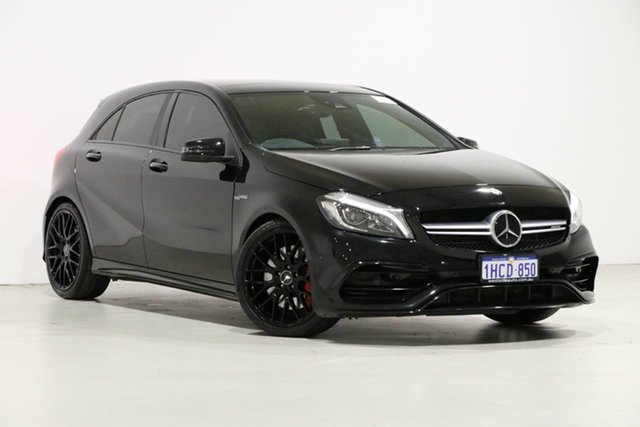 Used Mercedes-Benz A45 176 MY15 AMG, 2016 Mercedes-Benz A45 176 MY15 AMG Black 7 Speed Auto Dual Clutch Hatchback