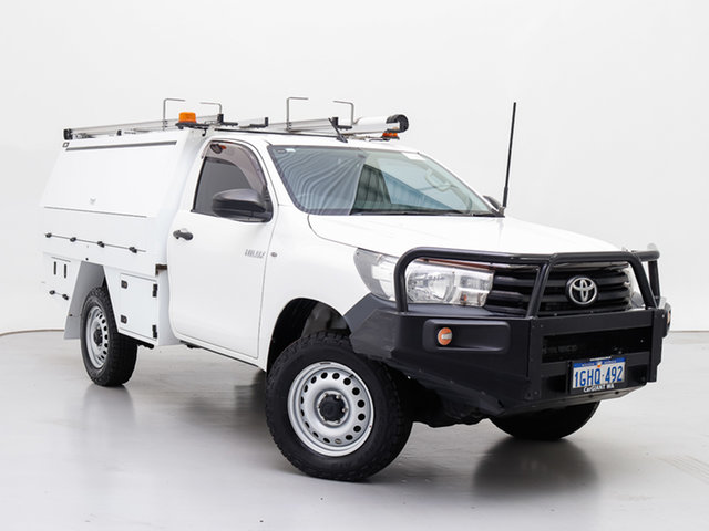 Used Toyota Hilux GUN125R Workmate (4x4), 2017 Toyota Hilux GUN125R Workmate (4x4) White 6 Speed Automatic Cab Chassis