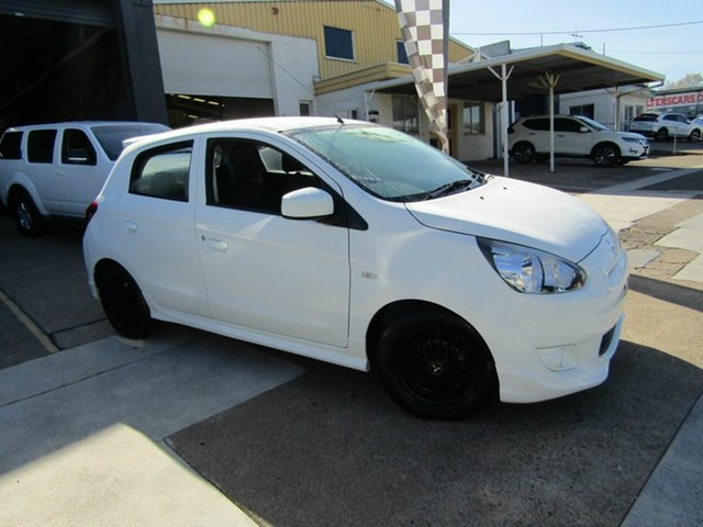 Used Mitsubishi Mirage LA MY14 ES Moorooka, 2012 Mitsubishi Mirage LA MY14 ES White 5 Speed Manual Hatchback
