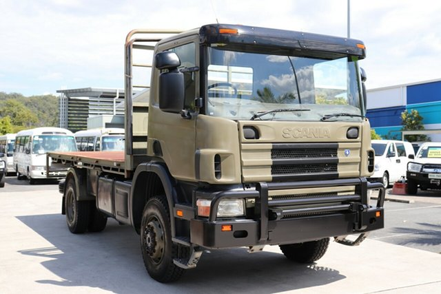 Used Scania P113  4x4, 2004 Scania P113 4x4 Olive Manual Tray Truck