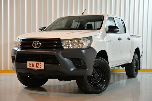 Used Toyota Hilux GUN125R Workmate Double Cab Hendra, 2017 Toyota Hilux GUN125R Workmate Double Cab White 6 Speed Sports Automatic Utility