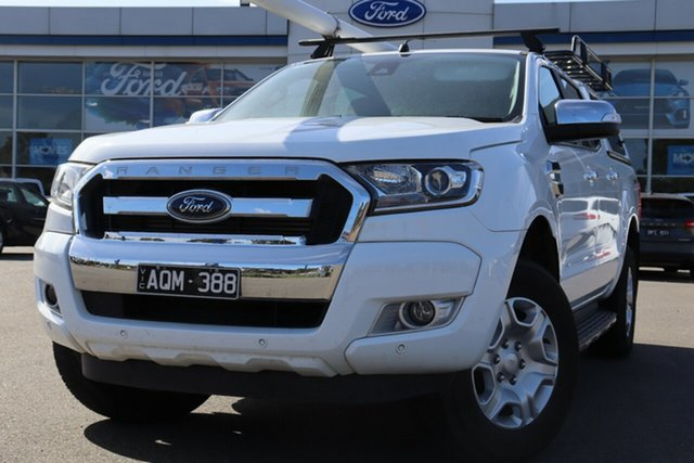 Used Ford Ranger PX MkII 2018.00MY XLT Double Cab 4x2 Hi-Rider, 2017 Ford Ranger PX MkII 2018.00MY XLT Double Cab 4x2 Hi-Rider White 6 Speed Sports Automatic
