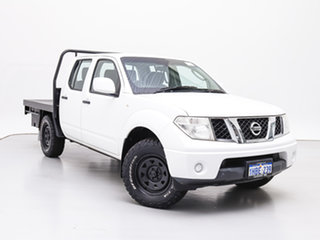 2013 Nissan Navara D40 MY12 RX (4x4) White 5 Speed Automatic Dual Cab Chassis.