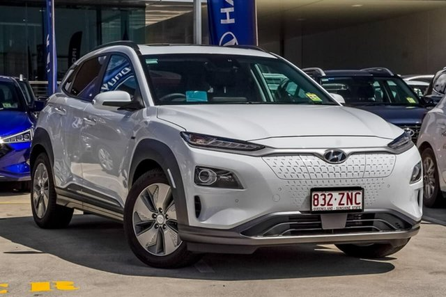 Demo Hyundai Kona OSEV.2 MY20 electric Highlander, 2019 Hyundai Kona OSEV.2 MY20 electric Highlander Chalk White 1 Speed Reduction Gear Wagon