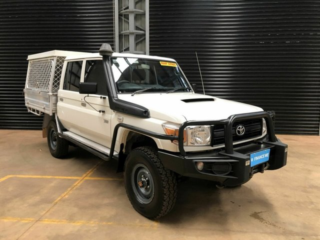 Used Toyota Landcruiser VDJ79R MY13 Workmate Double Cab, 2014 Toyota Landcruiser VDJ79R MY13 Workmate Double Cab White 5 Speed Manual Cab Chassis