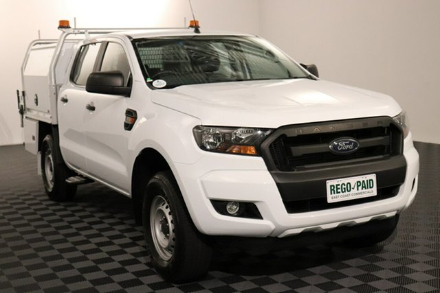 Used Ford Ranger PX MkII 2018.00MY XL Hi-Rider Acacia Ridge, 2018 Ford Ranger PX MkII 2018.00MY XL Hi-Rider Cool White 6 speed Automatic Cab Chassis