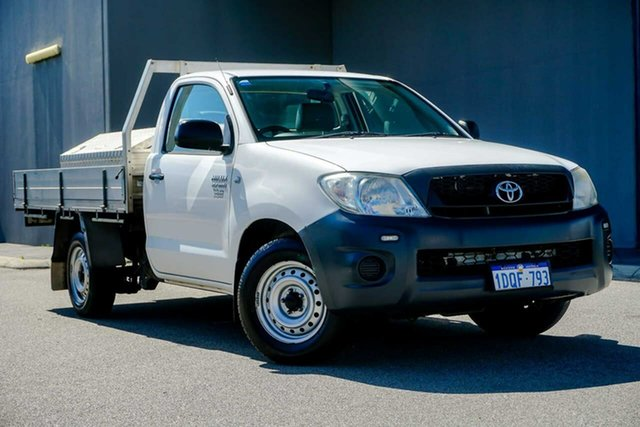 Used Toyota Hilux TGN16R MY10 Workmate 4x2, 2011 Toyota Hilux TGN16R MY10 Workmate 4x2 White 5 Speed Manual Cab Chassis
