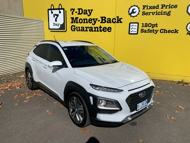 Used Hyundai Kona OS MY18 Highlander 2WD, 2018 Hyundai Kona OS MY18 Highlander 2WD Chalk White 6 Speed Sports Automatic Wagon