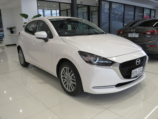 Demo Mazda 2 DJ2HAA G15 SKYACTIV-Drive Evolve, 2020 Mazda 2 DJ2HAA G15 SKYACTIV-Drive Evolve Snowflake White 6 Speed Sports Automatic Hatchback