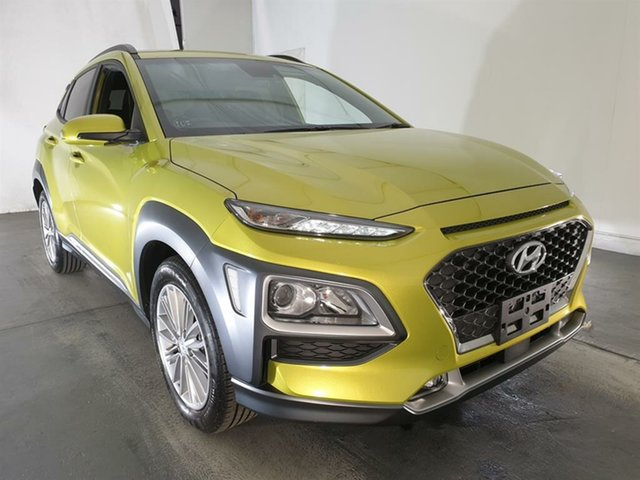 Used Hyundai Kona OS.2 MY19 Elite D-CT AWD, 2019 Hyundai Kona OS.2 MY19 Elite D-CT AWD Yellow 7 Speed Sports Automatic Dual Clutch Wagon