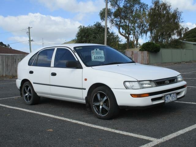 Used Toyota Corolla Timboon, 1998 Toyota Corolla AE101R White Automatic Hatchback