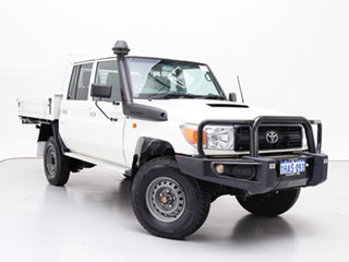 2016 Toyota Landcruiser VDJ79R MY12 Update Workmate (4x4) White 5 Speed Manual Double Cab Chassis.