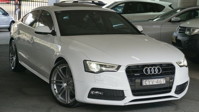 Used Audi A5 8T MY13 Sportback S Tronic Quattro, 2013 Audi A5 8T MY13 Sportback S Tronic Quattro White 7 Speed Sports Automatic Dual Clutch Hatchback