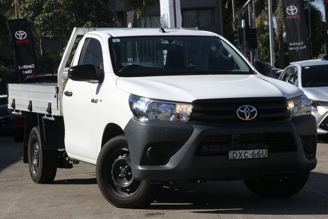 Used Toyota Hilux GUN122R MY17 Workmate, 2018 Toyota Hilux GUN122R MY17 Workmate Glacier White 5 Speed Manual Cab Chassis