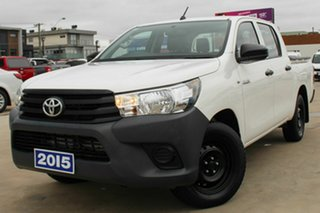 2015 Toyota Hilux GUN122R Workmate Double Cab 4x2 White 5 Speed Manual Utility.