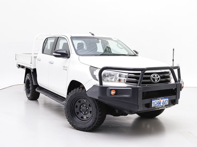 Used Toyota Hilux GUN126R MY17 SR (4x4), 2017 Toyota Hilux GUN126R MY17 SR (4x4) White 6 Speed Automatic Cab Chassis