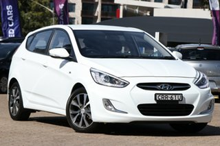 2013 Hyundai Accent RB3 SR White 6 Speed Automatic Hatchback.