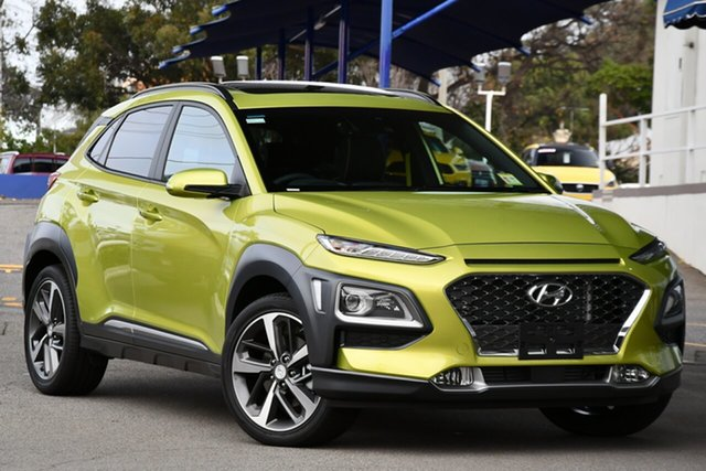 New Hyundai Kona OS.3 MY20 Highlander 2WD Moorooka, 2020 Hyundai Kona OS.3 MY20 Highlander 2WD Surfy Blue Metallic Paint 6 Speed Sports Automatic Wagon