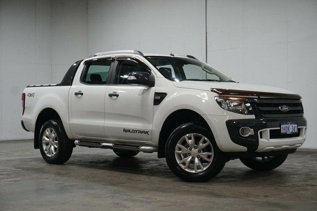 Used Ford Ranger PX Wildtrak Double Cab Welshpool, 2014 Ford Ranger PX Wildtrak Double Cab White 6 Speed Sports Automatic Utility