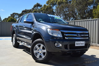 2014 Ford Ranger PX XLT Double Cab Gunmetal Blue 6 Speed Sports Automatic Utility.