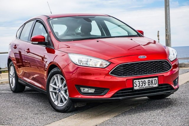 Used Ford Focus LZ Trend Christies Beach, 2016 Ford Focus LZ Trend Red 6 Speed Automatic Hatchback