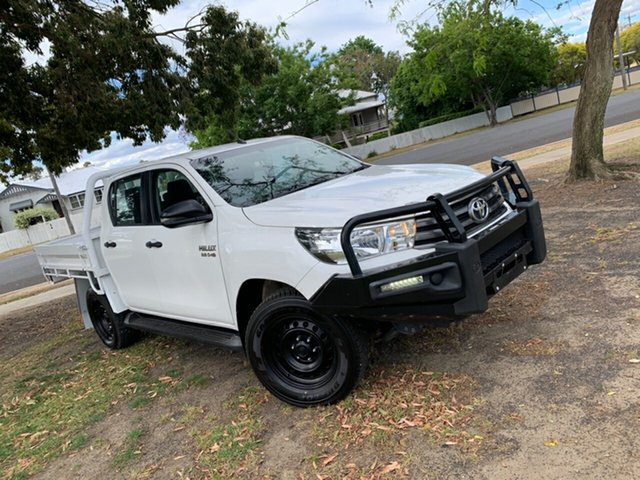Used Toyota Hilux GUN126R SR Double Cab Moree, 2018 Toyota Hilux GUN126R SR Double Cab Glacier White 6 Speed Sports Automatic Cab Chassis