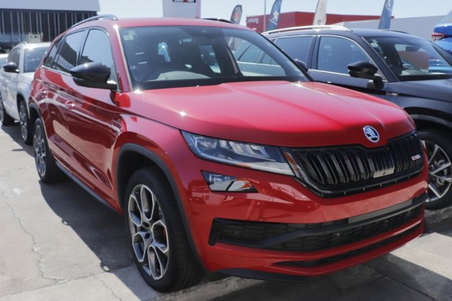 New Skoda Kodiaq NS MY21 RS DSG Parramatta, 2020 Skoda Kodiaq NS MY21 RS DSG Velvet Red 7 Speed Sports Automatic Dual Clutch Wagon