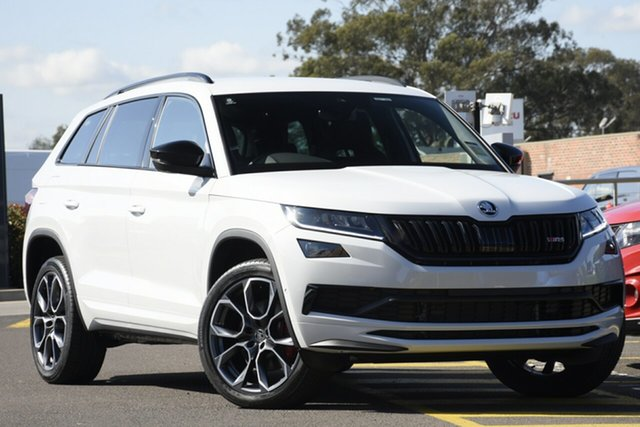 New Skoda Kodiaq NS MY21 RS DSG Parramatta, 2020 Skoda Kodiaq NS MY21 RS DSG Moon White 7 Speed Sports Automatic Dual Clutch Wagon