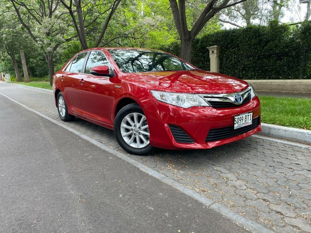 Used Toyota Camry AVV50R Hybrid H Hawthorn, 2015 Toyota Camry AVV50R Hybrid H Red 1 Speed Constant Variable Sedan Hybrid