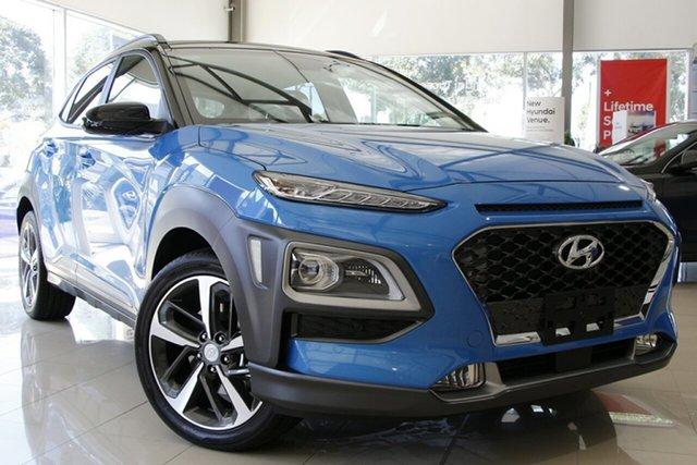 New Hyundai Kona OS.3 MY20 Highlander TTR (FWD) South Melbourne, 2020 Hyundai Kona OS.3 MY20 Highlander TTR (FWD) Ceramic Blue & Black Roof 6 Speed Automatic Wagon