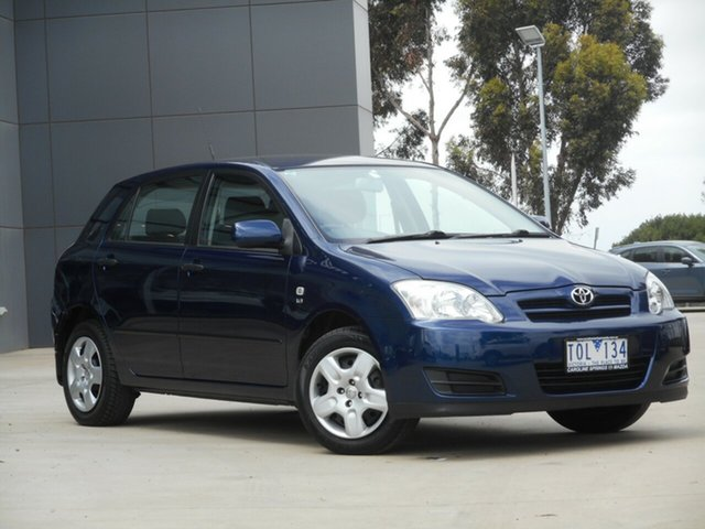 Used Toyota Corolla ZZE122R 5Y Ascent Ravenhall, 2005 Toyota Corolla ZZE122R 5Y Ascent Blue 5 Speed Manual Hatchback