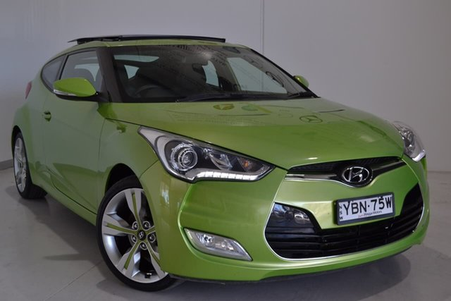 Used Hyundai Veloster FS3 + Coupe D-CT Wagga Wagga, 2014 Hyundai Veloster FS3 + Coupe D-CT Green 6 Speed Sports Automatic Dual Clutch Hatchback