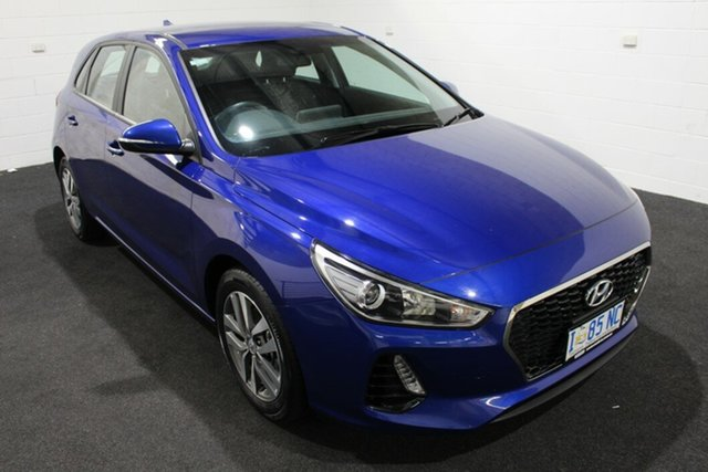 Used Hyundai i30 PD2 MY19 Active Glenorchy, 2019 Hyundai i30 PD2 MY19 Active Intense Blue/black C 6 Speed Sports Automatic Hatchback