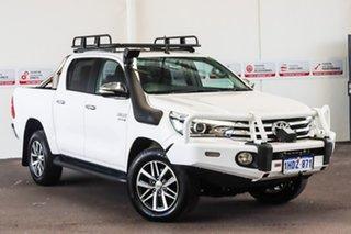2016 Toyota Hilux GUN126R SR5 (4x4) Glacier White 6 Speed Manual Dual Cab Utility.