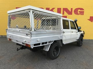 2014 Toyota Landcruiser VDJ79R MY13 Workmate Double Cab White 5 Speed Manual Cab Chassis