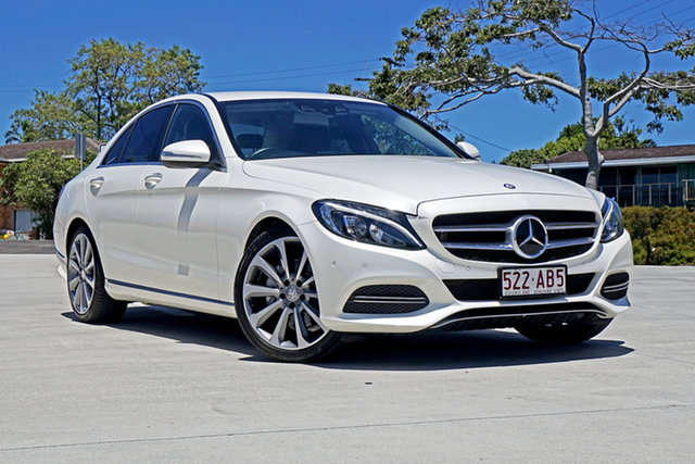 Used Mercedes-Benz C-Class W205 C250 7G-Tronic + Capalaba, 2015 Mercedes-Benz C-Class W205 C250 7G-Tronic + White 7 Speed Sports Automatic Sedan