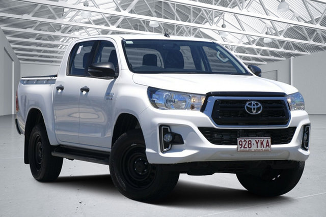 Used Toyota Hilux GUN126R SR Double Cab Eagle Farm, 2018 Toyota Hilux GUN126R SR Double Cab Glacier White 6 Speed Manual Utility