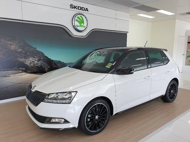 New Skoda Fabia NJ MY20.5 81TSI DSG Monte Carlo Hamilton, 2020 Skoda Fabia NJ MY20.5 81TSI DSG Monte Carlo Candy White & Black Colour Concept 7 Speed