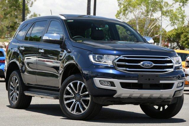 Used Ford Everest UA II 2019.00MY Titanium North Lakes, 2019 Ford Everest UA II 2019.00MY Titanium Blue 10 Speed Sports Automatic SUV