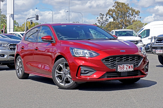 Used Ford Focus SA 2019.75MY ST-Line Ebbw Vale, 2019 Ford Focus SA 2019.75MY ST-Line Ruby Red 8 Speed Automatic Hatchback