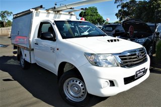 2014 Toyota Hilux KUN26R MY14 SR White 5 Speed Manual Cab Chassis.