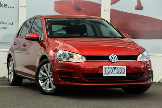 Pre-Owned Volkswagen Golf VII MY14 90TSI DSG Comfortline Ferntree Gully, 2013 Volkswagen Golf VII MY14 90TSI DSG Comfortline Red 7 Speed Sports Automatic Dual Clutch