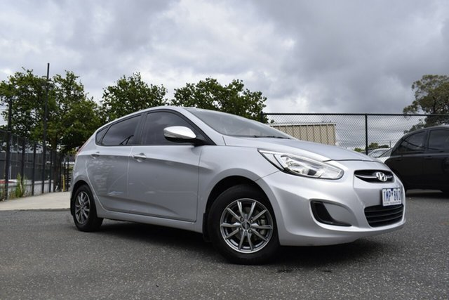 Used Hyundai Accent RB4 MY16 Active Ferntree Gully, 2016 Hyundai Accent RB4 MY16 Active Silver 6 Speed Constant Variable Hatchback