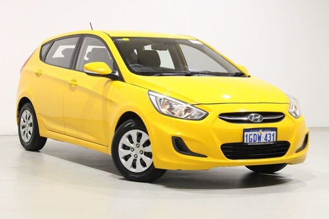 Used Hyundai Accent RB4 MY17 Active Bentley, 2017 Hyundai Accent RB4 MY17 Active Yellow 6 Speed CVT Auto Sequential Hatchback