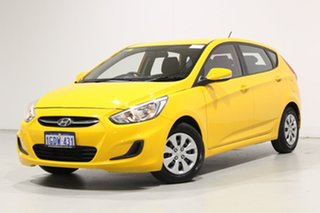 2017 Hyundai Accent RB4 MY17 Active Yellow 6 Speed CVT Auto Sequential Hatchback.