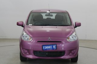 2013 Mitsubishi Mirage LA MY14 ES Pink 5 Speed Manual Hatchback.